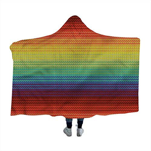 Bensonsve Wearable Sleeping Blankets Striped,Mexican Knitting Pattern for Kids Adults Baby Toddler Dog Cat 50 x 40 Inch