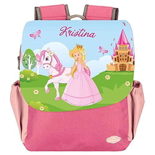Mein Zwergenland Kindergartenrucksack Happy Knirps Next Print mit Name Prinzessin, 6L, Pink