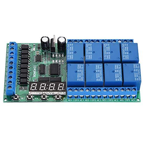 Yhtech Temporizador de retransmisión, DC 12V 8 canales de tiempo tarjeta de interface relé de retardo multifuncional Módulo de relé de temporización Módulo interruptor de relé Herramientas industriale