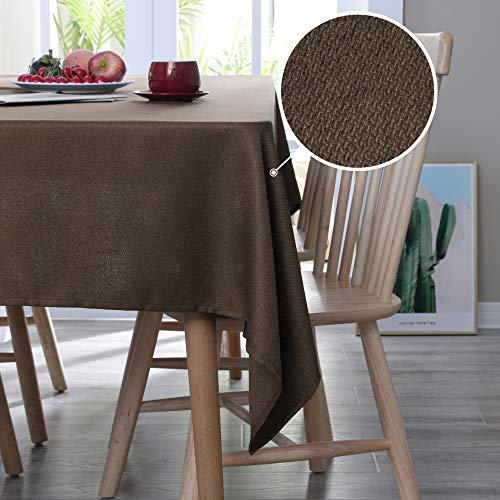 Deconovo Leinenoptik Tischdecke Wasserabweisend Tischwäsche Lotuseffekt Esstisch 130x130 cm Braun