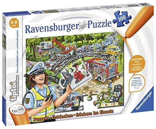 Ravensburger tiptoi Puzzeln, Entdecken, Erleben: Im Einsatz, ab 5 Jahren, Hilf Polizei, Feuerwehr und Rettungsdienst am Einsatzort