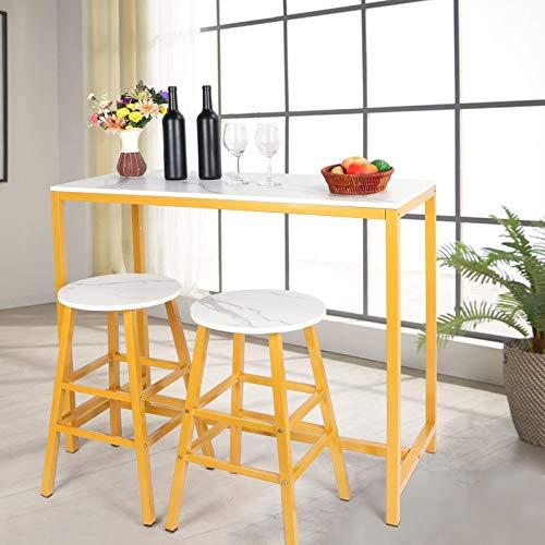 Wakects Mesa de comedor, mesa de cocina moderna, con 1 mesa, 2 sillas, mesa de comedor, mesa de bar, mesa de pie, 106 x 47 x 92 cm