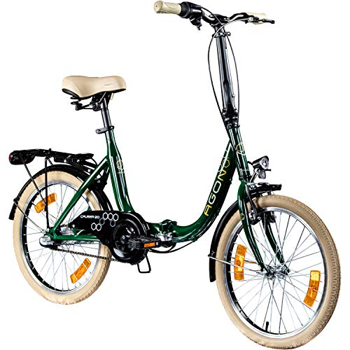 "AGON Klappfahrrad 20 Zoll Faltrad Klapprad Fahrrad Cruiser 20\"" StVZO Beleuchtung (grün)"