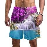 Pantalones Cortos de Playa de Verano para Hombre con Pantalones Cortos de Secado rápido con cordón de Cintura elástica con Bolsillos,Parrot Cascada Tropical