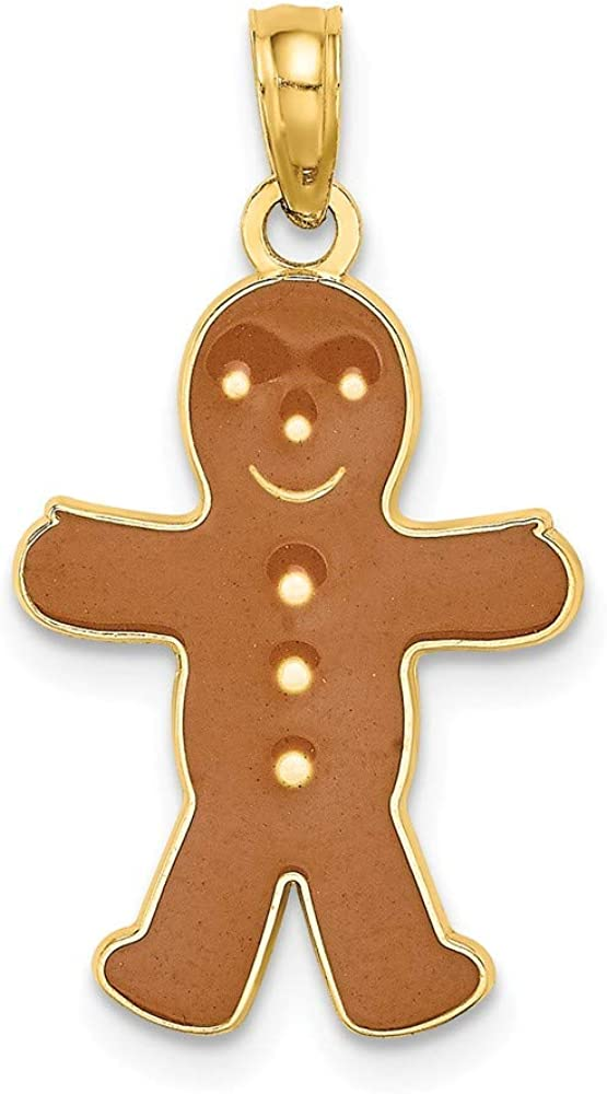 14k Yellow Gold 3 D Enameled Gingerbread Man Pendant Charm Necklace Special Occasion Holiday Fine Jewelry For Dad Mens Gifts For Him