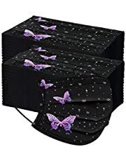 Ansiktsmasker Disponibel Munmask Adult Butterfly Printing Protective 3 layer NON-woven Black Disposable Mask Face Cover Shield Breathable for Women Girls, 100PC