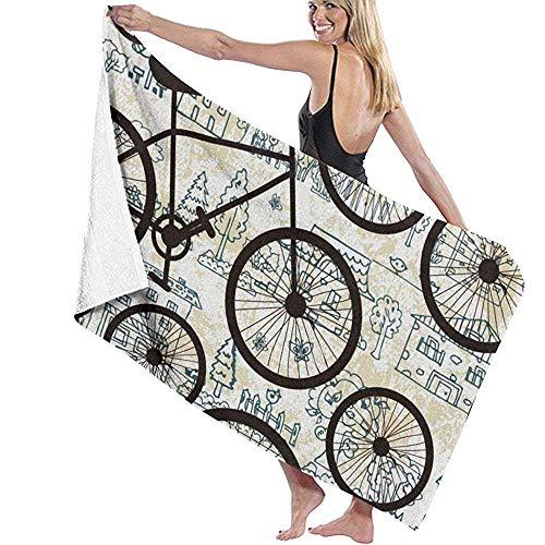 asdew987 Toallas de playa negras para bicicleta, toalla de playa grande, ultra suave, muy absorbente, toalla de baño de gran tamaño