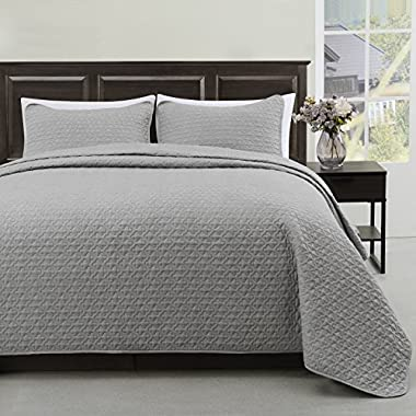 Madison King/Cal-King Size Bed 3pc Quilted Bedspread Light Grey Color Bed Cover Set, Thin Extra Light weight and Oversized coverlet