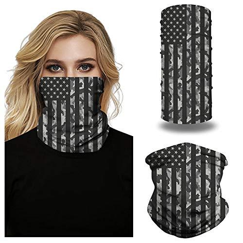 Bandana Face Mask 2pcs Balaclava Face Scarf Men Women Neck Gaiters for Dust Wind Motorcycle Mask Outdoors Sports Black