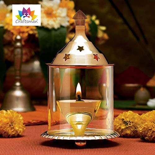 Craftsman Akhand Diya Schornsteinglas 21,6 cm dekorative Messingöllampe für ganze Nacht Diwali/Deepawali Dekoration Teelichthalter Öllampe Laterne | Puja Lampe