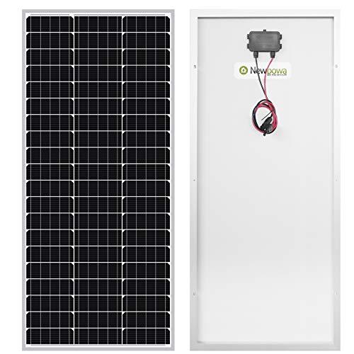 Newpowa® 100 W(Watt) 12V(Volt) Monokristallin Solarpanel Hohe Effizienz Photovoltaik Mono Solarzelle für Wohnmobil Gartenhäuse Boot