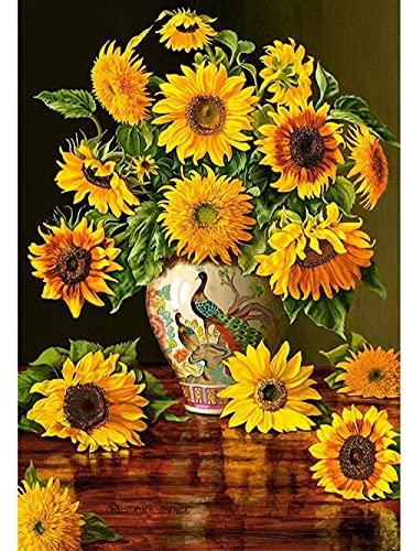 ZYYSYZSH Jarrón de Pavo Real con póster de Girasol Rompecabezas de 1000 Piezas, Rompecabezas de Papel, Rompecabezas de descompresión para niños y Adultos (38x26cm)