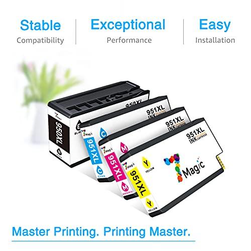 7Magic 950xl 951xl Cartuchos de Tinta de Repuesto compatibles para HP Officejet Pro 8100 8600 8610 8620 8630 8640 8660 8615 8625 251dw 276dw (1 Negro, 1 Cian, 1 Magenta, 1 Amarillo)