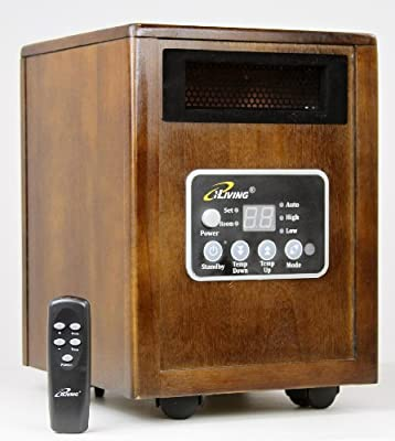 iLIVING Infrared Portable Space Heater with Dual Heating System, 1500W, Remote Control, Dark Walnut Wooden Cabinet