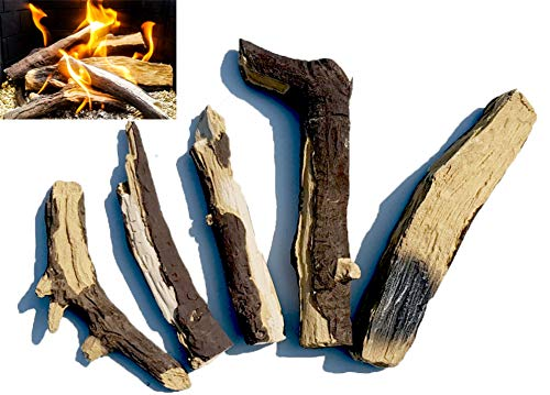 Gas Fire Logs – Set of 5 Extra Realistic Ceramic Logs Suitable for Gas...