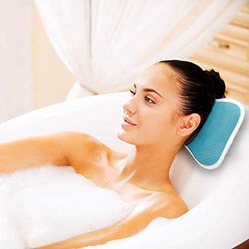 Comfortable Bath Pillow with Suction Cups, Supports Neck and Shoulders Home Spa Pillows for Bathtub, Hot Tub, Jacuzzi, Bathtub Head Rest Pillow Relax
