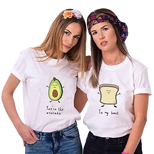 Best Friends Damen T-Shirt BFF Beste Freunde Avocado und Toast (Weiß, Avocado XS)