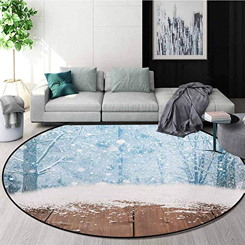 For Sale! RUGSMAT Winter Non Slip Round Rugs,Blizzard Scenery Nature Wooden Planks Cold Morning Pine...