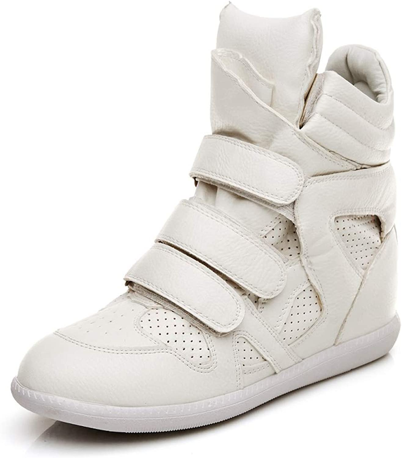 T-JULY Women High Top Hidden Wedges White Sneakers Female Casual Basket Ankle Sneakers