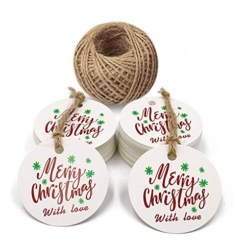 Christmas Tags,Merry Christmas with Love Tags,100PCS Round Kraft Paper Tags,Christmas Gift Wrap Label DIY Hang Tags with 100 Feet Twine