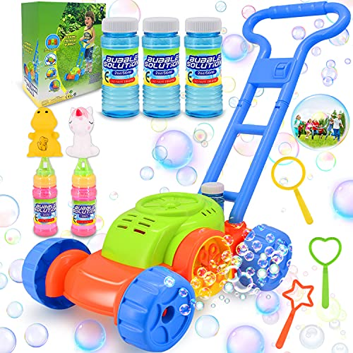 Fiptwo Bubble Machine for Kids, Bubble Lawn Mower for Toddlers Bubble Blower Maker Outdoor Toys for Toddlers Backyard Gifts for Halloween Christmas Age 2 3 4 Years Old Toys for Boys Girls