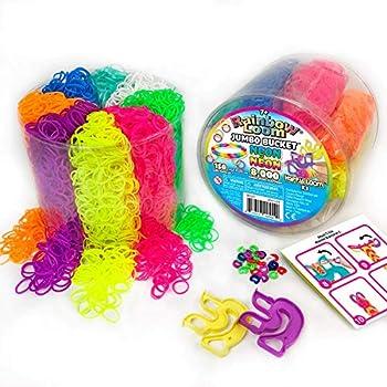 Rainbow Loom Neon Jumbo Bucket with 2X Happy Loom  B0327