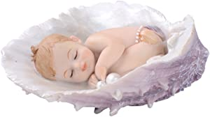 Comfy Hour Farmhouse Home Decor Collection Sleeping Baby in Seashell, Polyresin Figurine Decorated with Pearls, 4