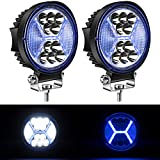 Yorkim 4.5' LED Pods, Off Road LED Light Bar Spot Flood Combo Round Blue X-Shape Work Light Fog Lights Driving Lights for Truck Jeep SUV ATV UTV Pickup with Flash Strobe Fucntion, Pack of 2