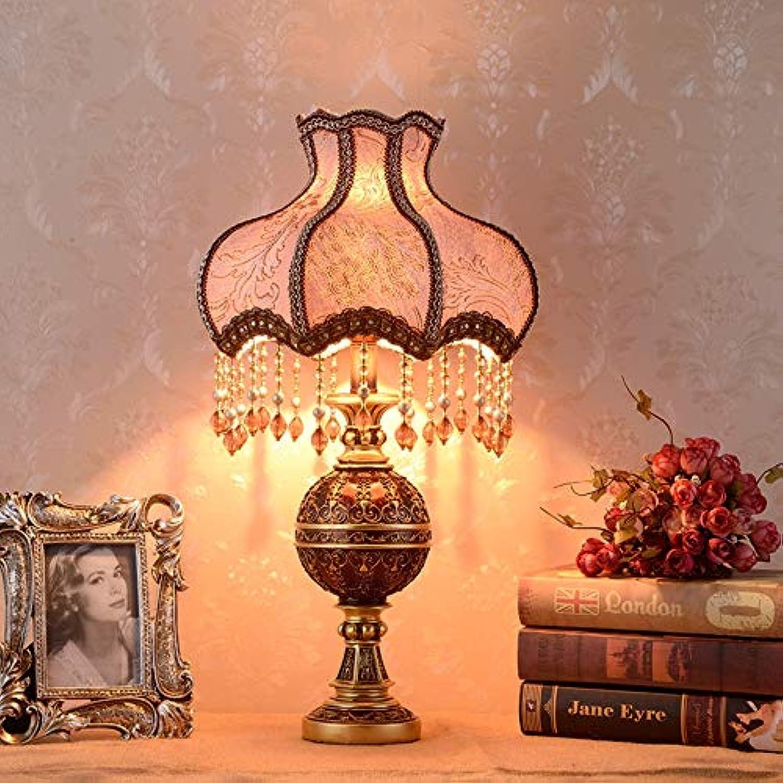 YYMM Tischlampe, Schlafzimmer Nachttischlampe amerikanische Studie Wohnzimmer Kunst warmen klassischen Retro Land Wohnzimmer,D33H55cm