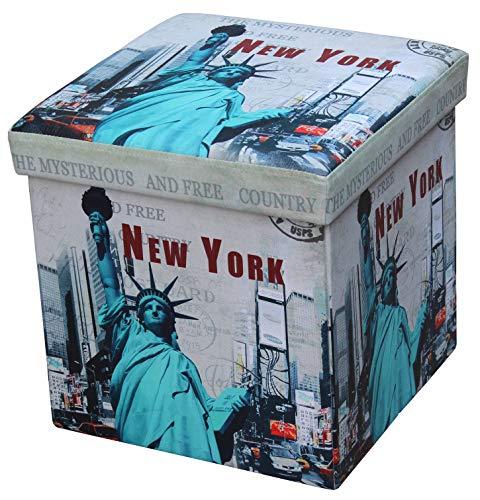 D&D Quality Puff Almacenaje Plegable, Asiento Acolchado, 38 x 38 x 38 cm - Exterior Suave Piel Sintética - Caja Almacenamiento Cuadrada (New York)