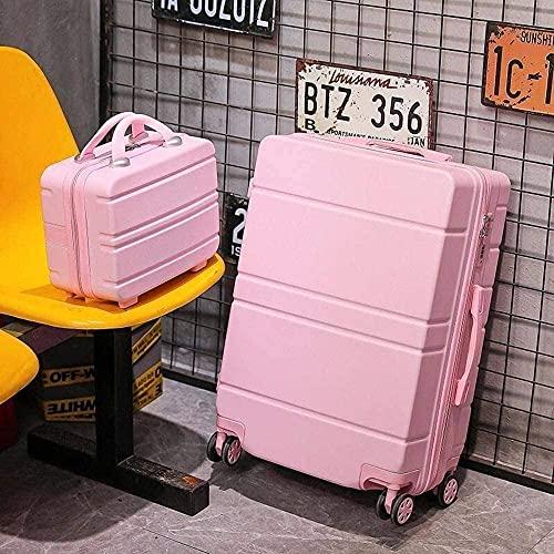 NYCUABT Maleta Caja de la Cubierta de la Cubierta Dura ABS con Ajuste de la Cubierta de 4 Ruedas con Bloqueo TSA, Maleta portátil + Maleta pequeña (Color : Black, Size : C)