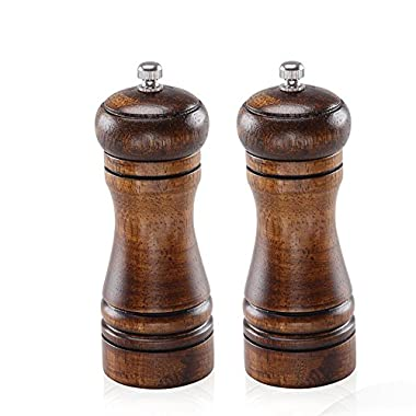 CTFly Spice Grinder Wooden Salt and Pepper Grinders Pepper Ceramic Salt Grinder and Mills with Adjustable ceramic grinding Core Oak Wood-5-inch (2 packed)
