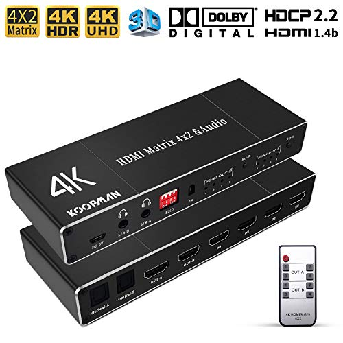Koopman 4K 4x2 HDMI Matrix Switch, Ultra HD Matrix HDMI Switcher Splitter with Optical & L/R Audio Output,Supports HDR 4Kx2K@30Hz, HDMI 1.4b/HDCP 2.2, 3D, LPCM/Dolby/DTS 5.1 Channel, EDID, IR Remote