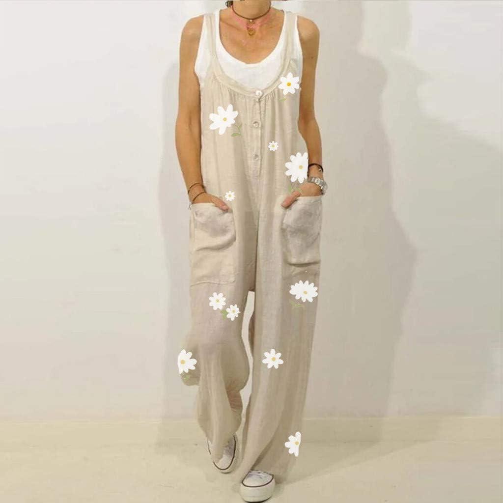 Salopette Femmes Grande Taille Combinaisons Ample Lin Jumpsuit /Ét/é 2021 Playsuit Imprim/é Fleur Combinaison Sarouel Femme Pas Cher Jumpsuit Femme Chic Sport Pantalon Harem Poche Overalls Rompers