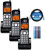 Motorola ML25055 2-Line DECT 6.0 Cordless Handsets (3-pk) for RCA 25255RE2/25270RE3/25260 and Motorola ML25212/ML25252/ML25260 Base Stations Bundle with Blucoil 10' Cat5e Cable, and Cable Ties (5-pk)