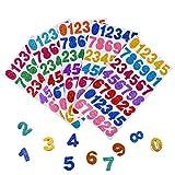 210pcs Foam Number Stickers 0-9 Glitter Letter Stickers 3D Self-Adhesive Planner Stickers Foam Sticker Sheets Easy Peel-Off Stickers for Kids Boys Girls