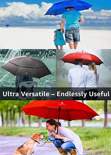Procella Golf Regenschirm, 157 cm groß, sturmsicher, automatisch zu öffnen, Regen- und Windresistent Golfschirme(Black) - 9