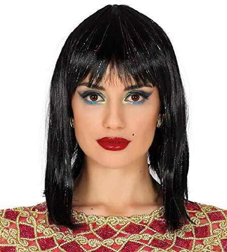 "Guirca Ã""gypterin Kleopatra Perücke in schwarz Glitzer für Damen Karneval Fasching Party"