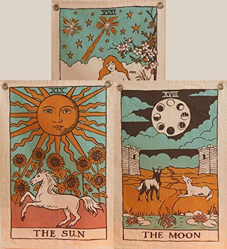 Tarot-Flagge Tapisserie – Die Sonne, Der Mond & Der Stern – Böhmische Baumwolle bedruckt, handgemachte Wandbehang mit Stahlösen, Beige, 3 Stück