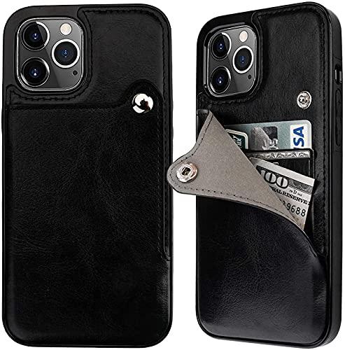Compatible con El iPhone 12 Pro MAX Slim Wallet Funda Protectora, Soporte De La Tarjeta, Soporte De Cinturón De Cuero PU 6.7 Pulgadas (Negro), Black