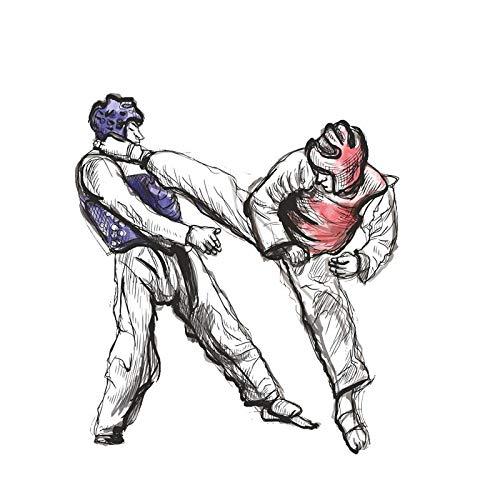 PMSMT Mode Boxen Taekwondo Karate Fun Auto Aufkleber Personalisierte Auto Aufkleber Farbe Aufkleber PVC wasserdichte Aufkleber, 15 cm * 14 cm