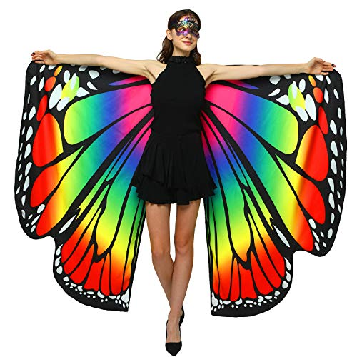 Halloween/Party Costumes,Double-Sided Printing Fabric Butterfly Wings for Women,Butterfly Shawl Fairy Ladies Nymph Pixie Costume Accessory (168 x135CM, Both Side Rainbow)