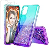 KEWEK Samsung A71 5G Glitter Case with Soft Screen Protector [2 Pack] Girls Women Sparkle Moving Quicksand Full-Body Protective TPU Cover for Galaxy A71 5G (Blue & Purple)