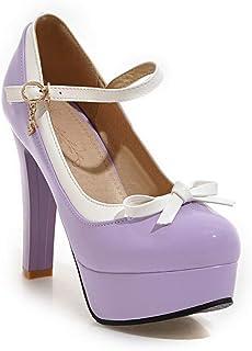 BalaMasa Womens APL11967 Leather Platform Heels