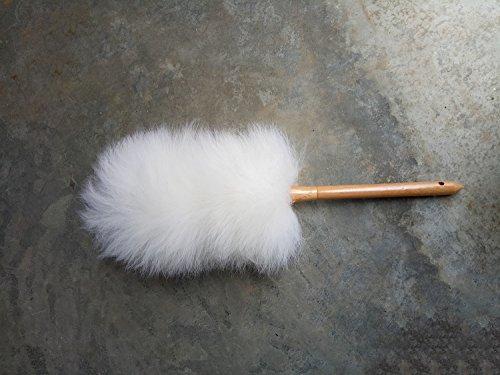 Monba Lambswool Feather Duster mit Massivem Holzgriff, Flexibel, Gute Griffe, Antistatisch, Waschbar Staubwedel für Zuhause, Büro und Auto, zieht und Hält Staub (Weiß)