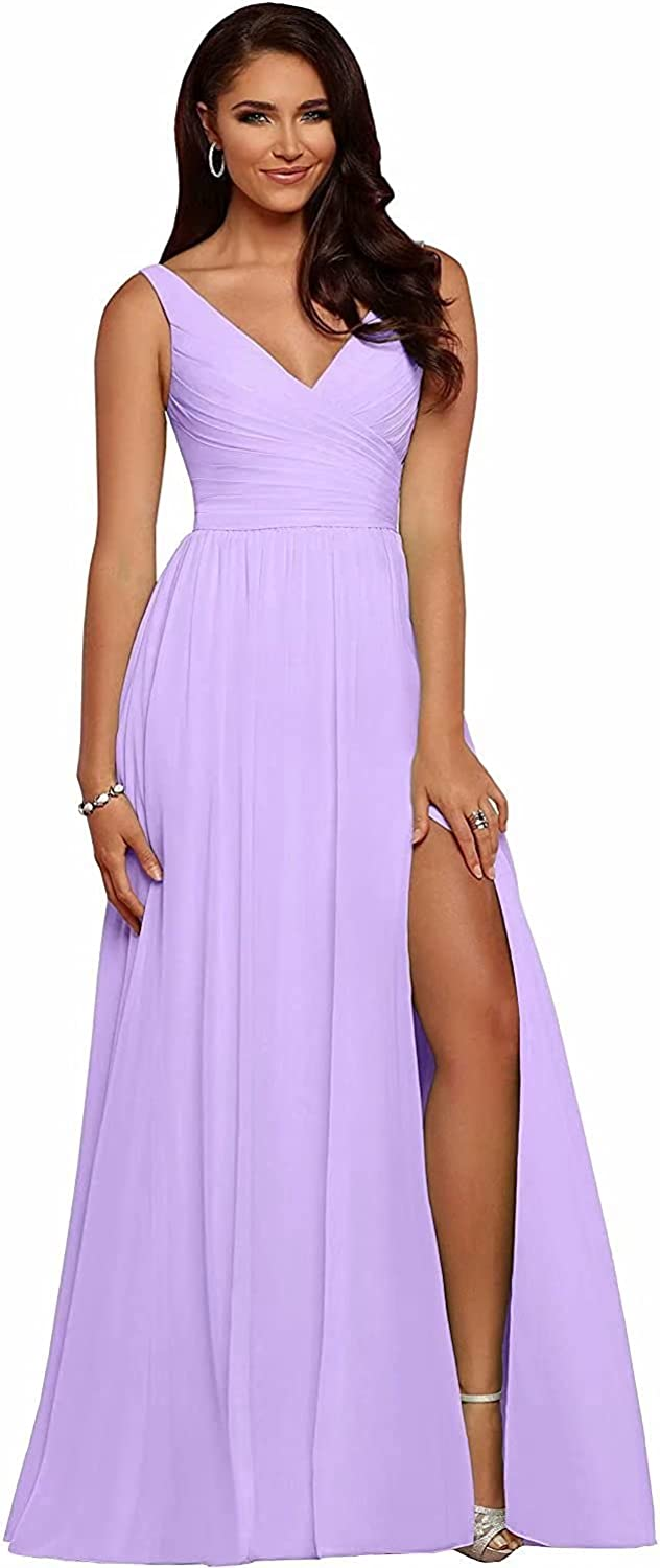 XingMeng Women's V Neck Slit Bridesmaid Dresses Long A Line Pleated Chiffon Formal Evening Prom Gowns