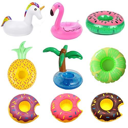 Badespielzeugset Aufblasbare Getränkehalter, Badezimmer Küche Einhorn Flamingo Palm Island Krapfen Frucht Cartoon Aufblasbares Flaschenhalter Badespielzeug Pool Untersetzer für Bier Getränke Saft