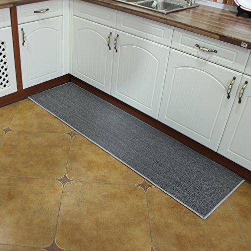 OR&DK Rechteckige küche Matte, Rutschfest Saugstarke Home Teppich Gummi-unterstützung Küche Fußmatten Dekoration-Grau 50x100cm(20x39inch)
