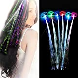 LED light up Extensiones el Pelo Iluminación LED por Fibra óptica flashing de pinzas para el cabello Pelucas Flashing Light LED Hair Clips Light Up para Bar Navidad Concierto 5 Colors, 12 Pack