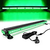FOXCID Green 38' 78 LED Emergency Warning Security Roof Top Flash Strobe Light Bar with Magnetic Base, for Plow or Tow Truck Construction Vehicle
